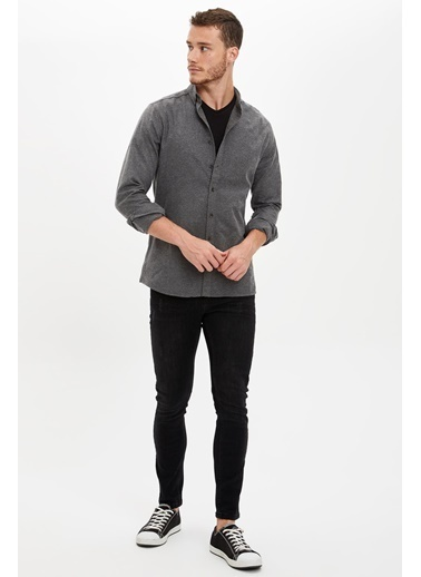 DeFacto Slim Fit Uzun Kollu Gömlek Siyah